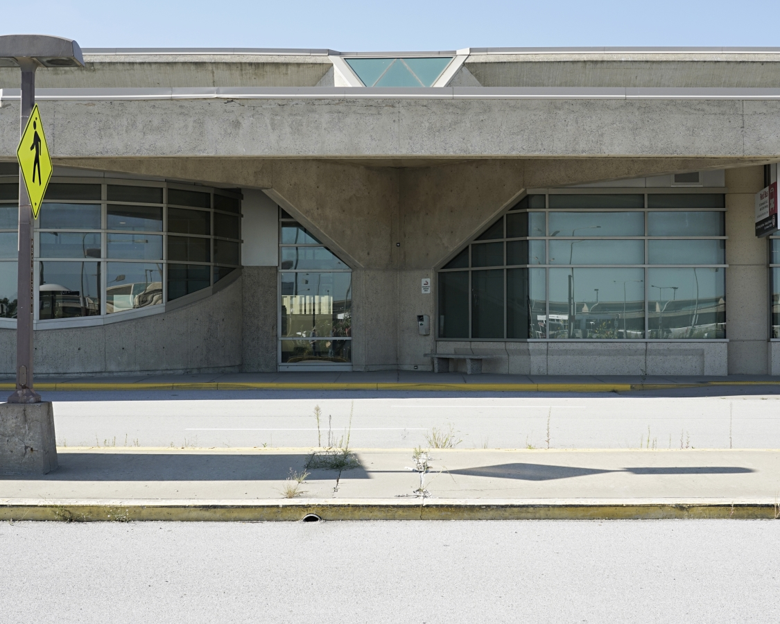 View of passenger entrances and circulation roadways outside Terminal A.